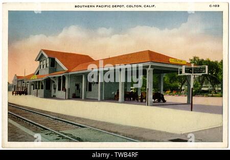 Southern Pacific Railroad Depot, Colton, Comté de San Bernardino, Californie, USA. Date: vers 1920 Photo Stock