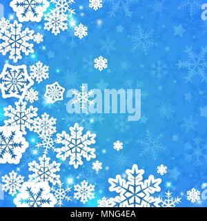 Abstract vector carte de Noël avec des flocons de papier blanc sur fond bleu Photo Stock