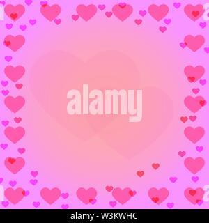Coeur rose sur les frontières de l'arrière-plan dégradé rose avec coeur silhouette dans le milieu. Solution idéale pour la conception et la décoration de salutations. Photo Stock