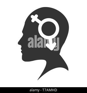Profil d'un homme chef avec un symbole bigender, modèle plat Photo Stock
