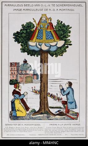 19ème siècle illustration néerlandais montrant le couronnement de la Vierge Marie avec Jésus. Vers 1820 Photo Stock