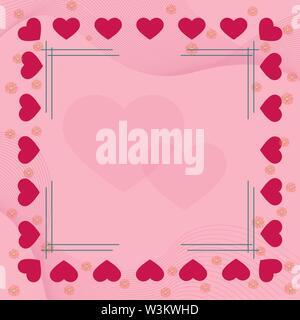 Coeur rose et des fleurs sur les frontières de fond rose avec cadre et le cœur au milieu. Solution idéale pour la conception et la décoration de salutations. Photo Stock