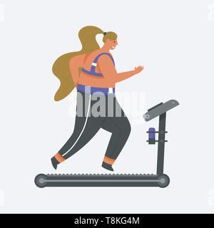 Tapis roulant pour la remise en forme. Fille grande taille. Sport santé en club. Grosse femme de faire les exercices, perte de poids, s'exécutant sur le simulateur, l'échauffement. La formation Photo Stock