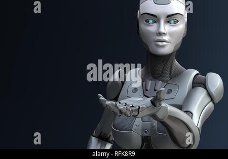En donnant sa main. Robot 3D illustration Photo Stock