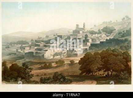 Moyen-orient, Cisjordanie, Bethany, vue de l'emplacement, gravure sur acier coloré par Poppel et Kurz après l'Halbreiter par Friedrich Adolf et Friedrich Otto Strauss, autour de 1861. Copyright de l'artiste , n'a pas à être effacée Photo Stock