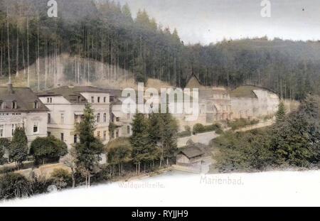 Villas à Mariánské Lázně, colorés, l'Allemagne, les bâtiments à Mariánské Lázně, 1899, Région de Karlovy Vary, Marianske Lazne, République tchèque, Waldquellzeile Photo Stock