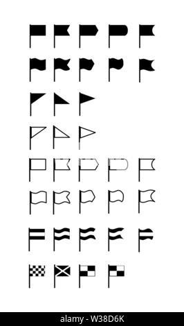 Ensemble de 35 télévision silhouette drapeaux de diverses formes et configurations. Photo Stock