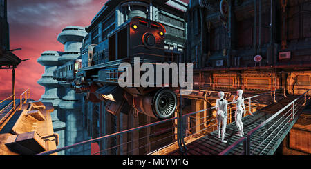 Vol en train de regarder des robots ville futuriste Photo Stock