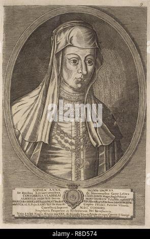 Zofia (Anna) Radziwill (Moniwidowna). À partir de: Icones Familiae Ducalis Radivilianae, 1758. Collection privée. Photo Stock