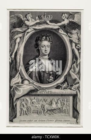 Artiste anonyme, broadside Jacobite, Queen Anne, 1665- 1714, régna 1702-1714 portrait, gravure, 1715 Photo Stock