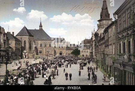 Bâtiments de Chomutov, places du marché en République tchèque, les églises, les marchés à Chomutov en République tchèque, en 1912, d'Ústí nad Labem, Komotau, Marktplatz Photo Stock