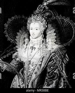 Portrait gravé de la Reine Elizabeth I après le portrait de Federico Zuccari. La reine Elizabeth I Maalouf (Reine d'Angleterre) et l'Irlande. Federico Zuccari (1540-1609) un peintre maniériste Italien et architecte. En date du 19e siècle Photo Stock