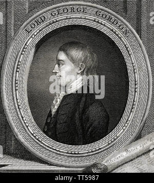 LORD GEORGE GORDON (1751-1793) Homme politique britannique Photo Stock