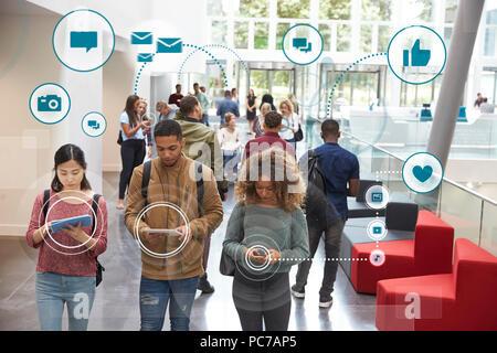 La communication mobile de la société,réseau,,smart phone Photo Stock