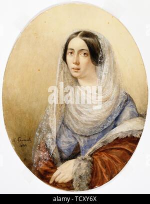 Portrait d'une jeune dame, 1841. On trouve dans la collection de Sinebrychoffin Taidemuseo, Helsinki. Photo Stock