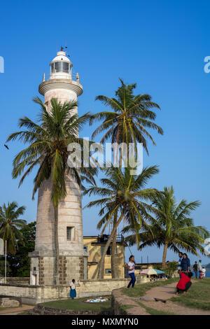 Phare dans la Galle Galle Fort historique, le Sri Lanka, l'Asie Photo Stock