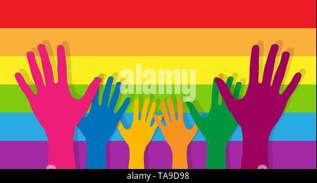 Jusqu'étirée dans la paume des mains sur l'arrière-plan de bandes horizontales aux couleurs de la communauté LGBT Photo Stock