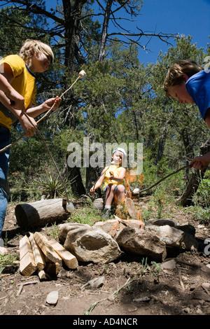 Trois garçons toasting marshmallow par un feu de camp Photo Stock