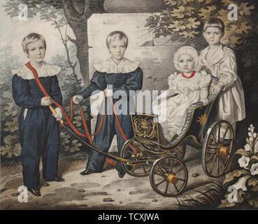 Portrait de l'Talyzin les enfants, début des années 1830. On trouve dans la collection de musée d'histoire et d'Art, Ramenskoye. Photo Stock