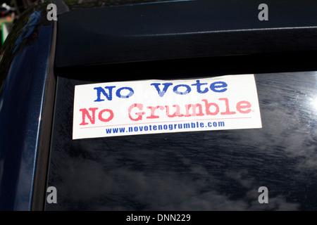 """Vote Pro bumpersticker à Hawaii, """"Pas de vote Pas de râler"""" Photo Stock"""