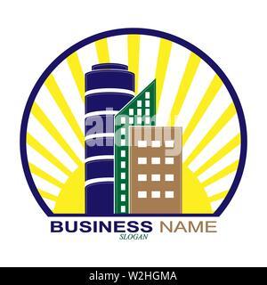 Logo de la construction ou une société immobilière, et de l'immobilier, de l'entreprise conception simple Photo Stock