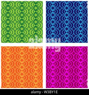 Ensemble de modèles intégrés multi-couleur des cercles et des cercles. Couleurs aléatoires moderne. Idéal pour les textiles, l'emballage, l'impression papier, de simples artifices Photo Stock
