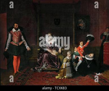 L'ambassadeur espagnol surprises Henri IV jouant avec ses enfants, 1817. On trouve dans la collection de Petit Palais, mus&#xe9;e des Beaux-Arts de la Ville de Paris. Photo Stock