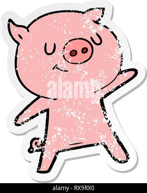 Autocollant en détresse d'un cochon heureux cartoon waving Photo Stock
