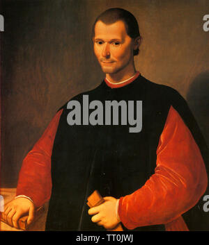 NICCOLÒ MACHIAVELLI (1469-1527) diplomate, homme politique et philosophe peint par Santi di Tito Photo Stock