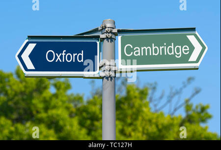 Pour présenter un choix d'aller à l'université d'Oxford ou Cambridge University. Option d'universités britanniques en Angleterre, Royaume-Uni. Photo Stock