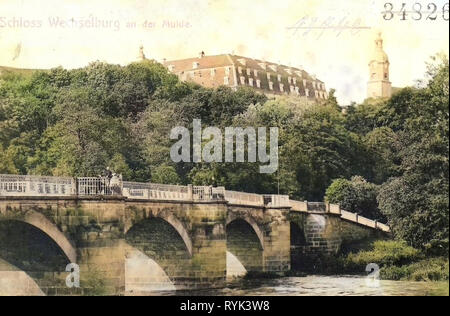 Ponts en Landkreis Mittelsachsen, Barockschloss Wechselburg, 1901, Landkreis Mittelsachsen, Wechselburg, Schloß und Muldenbrücke, Allemagne Photo Stock