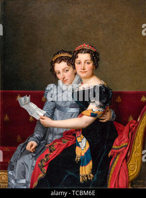 Jacques Louis David, Les Sœurs Zénaïde et Charlotte Bonaparte, portrait, 1821 Photo Stock