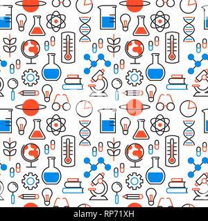 Motif de fond transparente de la science avec des icônes pour la recherche scientifique concept. Microscope comprend, de la chimie et de l'éducation la fiole d'outils. Photo Stock