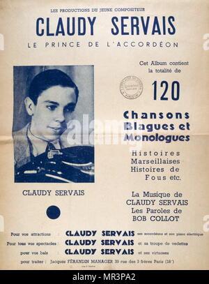 Livre de musique pour accordéon musique par les jeunes, le français, l'accordéoniste, Claudy Servais 1950 Photo Stock