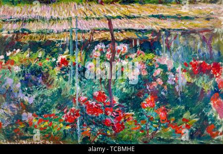Claude Monet, le jardin de la pivoine, la peinture de paysages, 1887 Photo Stock