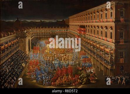 La joute des carrousels. Les festivités en l'honneur de la reine Christine de Suède dans la cour du Palazzo Barberini, 28 février 165, 1656. On trouve dans la collection de Museo di Roma. Photo Stock