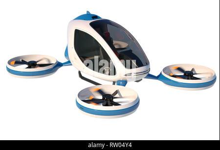 Drone passager électrique sur fond blanc. C'est un modèle 3D et n'existe pas dans la vie réelle. 3D illustration Photo Stock