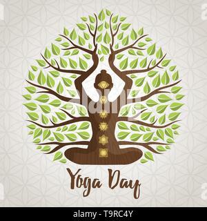 Yoga International Day Greeting card illustration de chakra, silhouette de femme d'icônes et de feuilles d'arbres pour la nature concept de connexion. Photo Stock