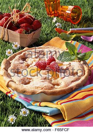 Tarte aux abricots et Amandine Photo Stock