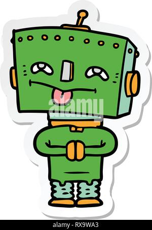 Sticker d'un robot de dessin animé Photo Stock