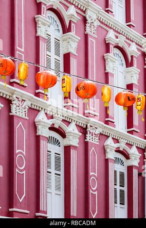 Vue sur la rue, quartier de Chinatown, à Singapour Photo Stock