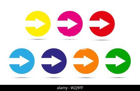 Flèche est coupé du cercle. Ensemble d'éléments de couleur. Modèle plat. Photo Stock
