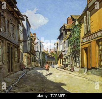Claude Monet, Rue de la Bavole, Honfleur, peinture, vers 1864 Photo Stock
