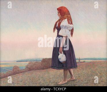 Une fille avec une cruche, années 20. On trouve dans la Collection de la Galerie nationale slovaque, Bratislava. Photo Stock