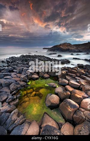 La Chaussée des Géants au crépuscule. L'Irlande du Nord. Photo Stock