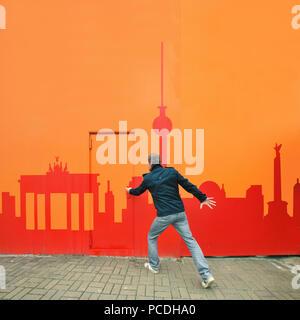 Tourisme, voyage de ville,berlin,peinture murale Photo Stock