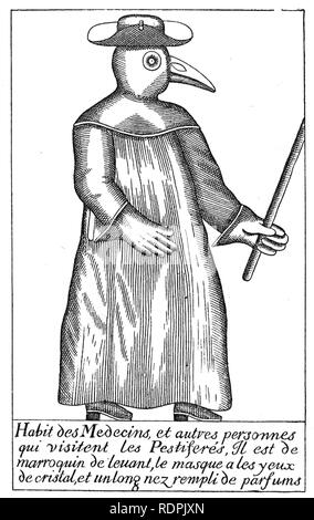 Médecin de la peste de l'illustration française du 17e siècle, un docteur habillé pour visiter pestiférés Photo Stock