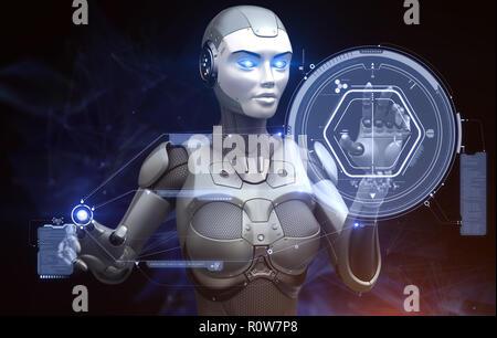 Robot est le travail avec l'écran tactile de haute technologie. 3D illustration Photo Stock