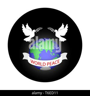 Globe avec les pigeons et branche d'olivier avec l'inscription la paix mondiale sur le ruban sur l'arrière-plan d'un cercle noir pour la conception et la décoration. Photo Stock