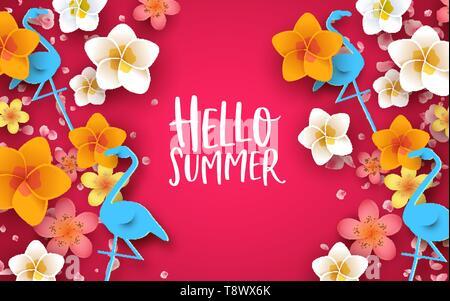 Hello Summer Greeting cardillustration. 3d couleur des fleurs tropicales et papier flamants sur fond rose. Photo Stock